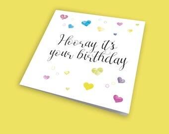 Hooray it's your birthday, Birthday Card, Greeting Card, Announcement Card, Blank Card