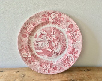 Transferware Pink and White Staffordshire Plate, Midnight Ride of Paul Revere, Made in England, Collectible Plate, Farmhouse Gift Home Decor