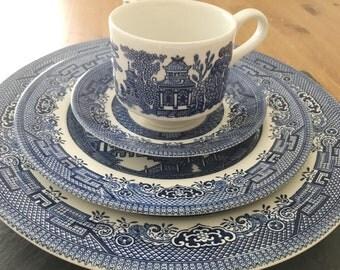 Churchill Blue Willow Dinnerware Set, 4 pc place setting Dinner Set, Blue & White Ironstone Transferware , English china, Housewarming Gift