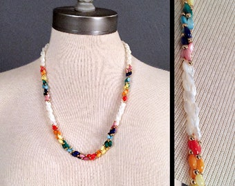 Vintage Rainbow PRIDE LGBTQ mother of pearl BEADED Necklace