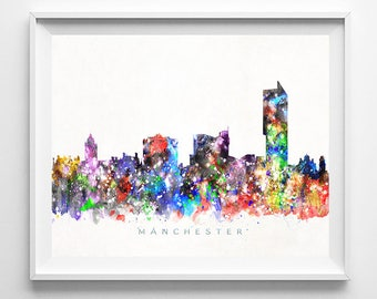 Manchester Skyline Print, England Print, Manchester Poster, Cityscape, Watercolor Painting, City Skyline, Wall Decor, Mothers Day Gift