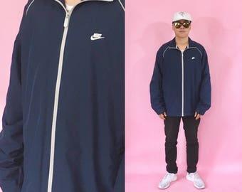 Vintage nike windbreaker 1990s 1980s blue jacket track jacket running runners