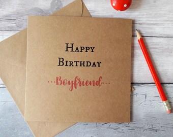 Boyfriend birthday card, birthday greetings boyfriend, cards for boyfriend, cards for him, happy birthday, simple quote, Kraft brown square