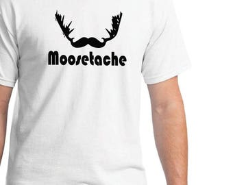 Fathers Day Gift, Mustache Shirt, Men's Funny Mustache T-shirt, Mustache Birthday Gift for Him, Moose-Stache Shirt, Dad Shirt, Husband Shirt