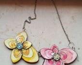 Flowers, necklace, polymer clay, unique, handmade, original design