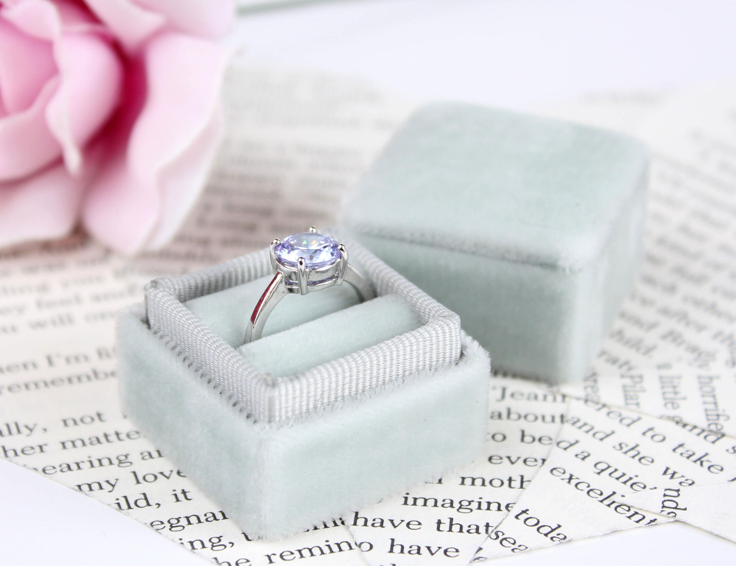 Ring Box Vintage Inspired Silver Dove Grey Velvet and Matching
