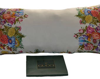 Vintage Gucci Scarf Pillow Light Blue Flowers iwj4485-1