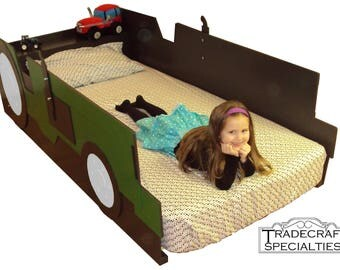 Tractor twin kids bed frame - handcrafted - farm tractor themed children's bedroom furniture - many colors available