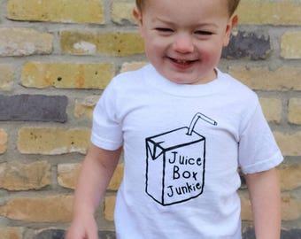 Juice Box Junkie Shirt or Bodysuit / Toddler Shirt / Juice Box Baby Boy Shirt / Funny Toddler Shirt // Funny Kid's Shirt