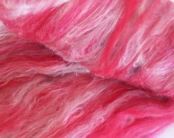 """Fiber Art Batt - Textured """"Heart to Heart"""" 2.7 oz -- Red, White, Pink - Merino, Angora, Bamboo, Locks"""
