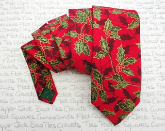 Christmas tie for men, green holly on a red background xmas necktie