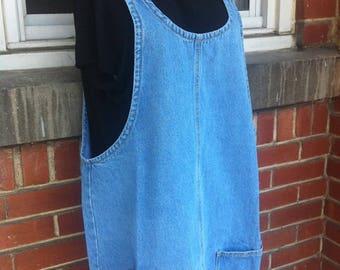 denim overall dress size xl