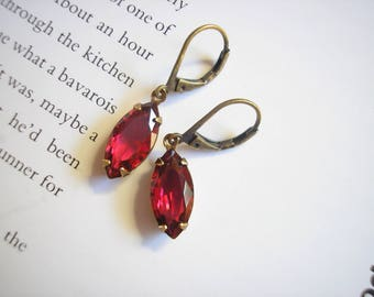 SALE - Vintage Ruby Crystal Navette Dainty Earrings Crimson Red Parisian Chic Neo Victorian July birthstone Cranberry Sangria Summer