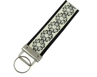 Personalized Key Chain / Key Black and White Flowers with Optional Initials