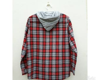 Vintage AIRWALK Red Black and White Citton Checkered Oxford Hoodies Used Clothes Sweater Size Medium.