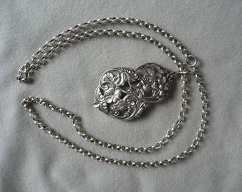 """Vintage sterling silver 3mm rollo chain 27"""" with 2 1/2"""" silver pendant"""