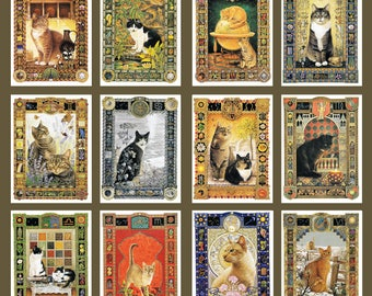 all star signs whole year horoscope vintage cat cats print Lesley Anne Ivory feline illustration zodiac astrology celestial 12 prints