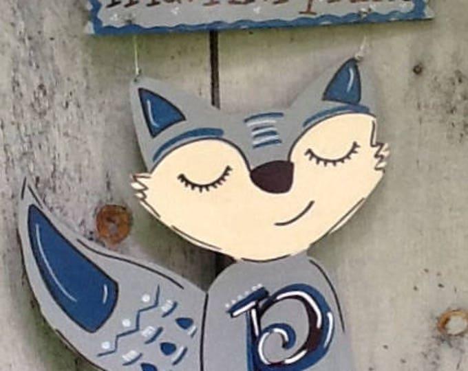 fox door sign, Fox door hanger, Nursery room decor, nursery room sign, fox room sign, animal room sign,  baby room sign, baby room decor