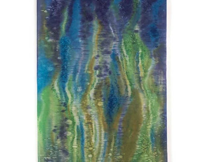 Bohemian Tapestry-Watercolor Silk Tapestry-Green Wall Art-Boho Decor-Coastal Decor-Beach Decor-Textile Abstract Art-Watercolor Home Decor