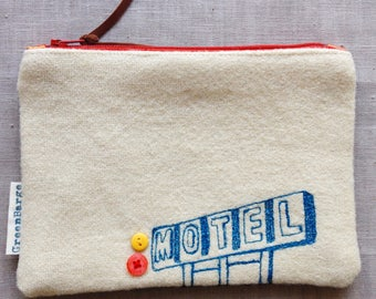 Upcycled Wool purse, Recycled Irish Wool Purse, Recycled Wool Blanket, Irish Wool Blanket, Motel Sign – Handmade in Ireland