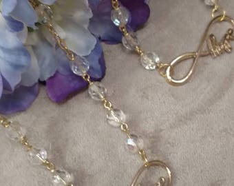 Crystal HOPe Necklace and Bracelet, Matching Set, Hope Connector, Infinity Hope Set, Gift Giving Set, Crystal Beaded Jewelry Set