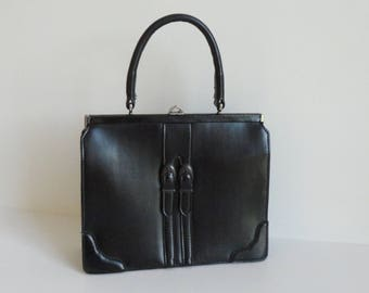 Cool Black 60 Vintage Top Handle Bag With Buckles // Vegan