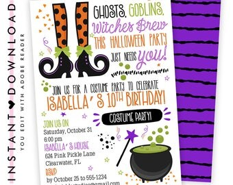 Witch Invitation, Witch Party, Witch Birthday, Witch Birthday Invitation, Witch Invitations, Halloween Witch, Witch Invites, Editable | 623