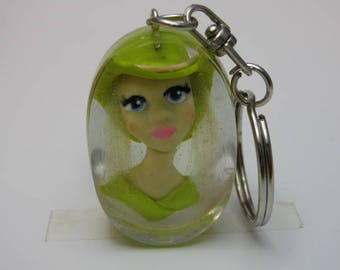 Lady romantic polymer made by hand and resin, Keychain