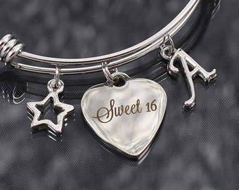 Sweet 16 gift, bangle bracelet with charms, sweet sixteen birthday jewelry, sweet 16 charm bracelet, sweet sixteen bracelet for women