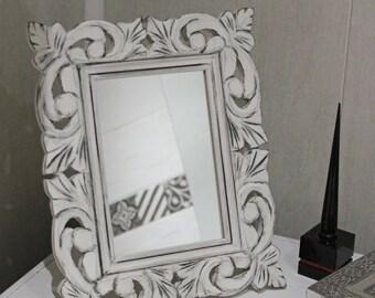 Romantic mirror, ornate pediment - shabby vibe - patina gray