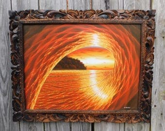 Wayan Baliex Surf Art Studio / Artist Signed / Surfer in the Tube at Sunset / Framed Wave Painting / 29x23 / Surfing Art / Oil Painting