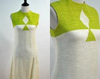 SUMMER SALE Mod Mini Wiggle Dress / 1960s Geometric Shift Dress / 60s Vintage Dress Sundress / Bleeker Street / Small S / Medium M / Green W