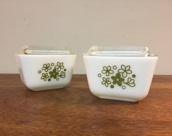 Two Pyrex Spring Blossom Green Small Refrigerator Dishes #501