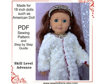 18 inch doll clothes fur coat jacket pattern, Winter Princess Coat, fits 18 inch dolls such as American Girl Doll, PDF Sewing Pattern,