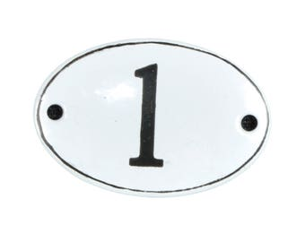 "Plate ""No. 1"" in white and black enamel"