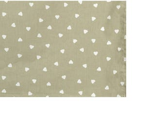 """Square tablecloth fabric coating """"White hearts"""" in 150X150cm"""