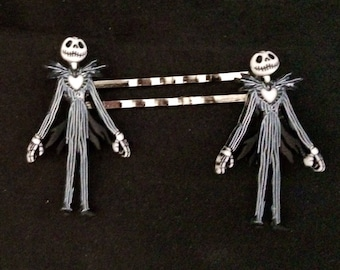 Set Of 2 Metal Hair Pins Featuring Jack Skellington From The Nightmare Before Christmas