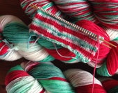 Super Sock - Meet Me Under The Mistle-toes / Self-striping / Sock Yarn / Indie Dyed / Christmas