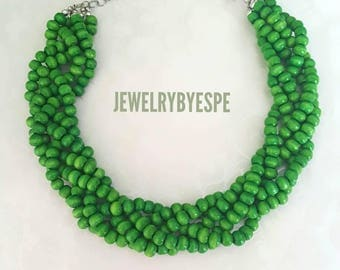 Rustic Green Necklace, Statement Necklace, Green Wedding Beach Jewelry , Choker Multi Strand Necklace, Boho, Tribal summer jewelry
