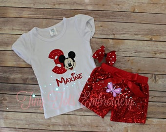 Mickey Mouse Birthday Outfit ~ Mickey Mouse Outfit ~ Includes Top, Sequin Shorts and Hair,Bow ~ Customize in any colors!