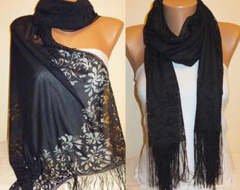 Black Tulle Scarf, Light Fringed Scarf, Black Scarf, Fashion, Bridesmaid Gift, Wedding Accessory, Lace Shawl, Birthday Gift, Gift for Her