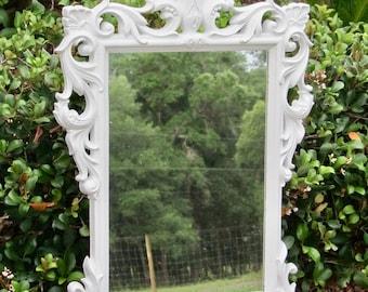 Vintage large white syroco mirror / bathroom mirror / nursery mirror