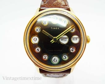 Timex Mercury Men's Watch 1975 Brown Telephone Dial With Day & Date Window Manual Wind Movement