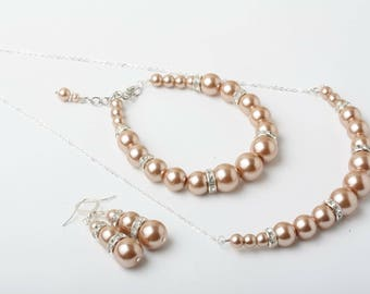 Necklace champagne pearls