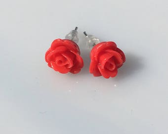 Red rose flower earrings, bff, gift for her