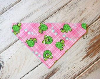 SALE Size Small Ready to Ship Turtles on Pink Dog Bandana, Dog Scarf, no tie bandana, slip on bandana, pet bandana, doggy scarf