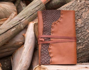 The Reptile Leather Journal, Brown Leather with reptile skin texture
