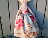 Handmade doll with a vintage french skirt