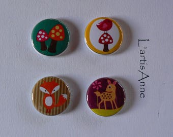 Set of 4 Badges or magnets cheep-cheep mushroom autumn Fox Magnets.