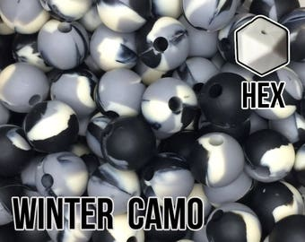 17 mm Hexagon Winter Camo Silicone Beads 5-1,000 (black, grey, ivory) Geometric Bead - Bulk Silicone Beads Wholesale - DIY Teething